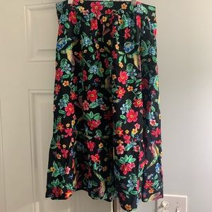 Tropical Patterned Flowy Midi Skirt